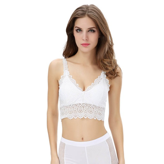 Fashion Women Lace Bra Strap Wrapped Chest Tank Crop Top
