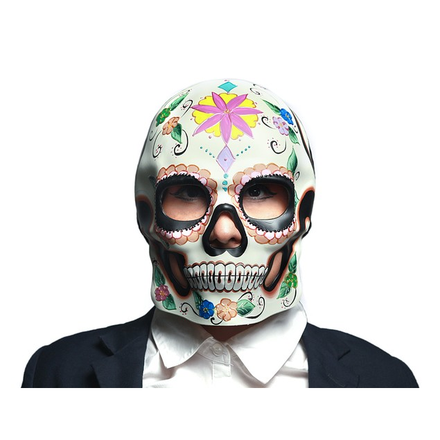 Colorful Floral Design Day Of The Dead Sugar Skull Wall Sculptures