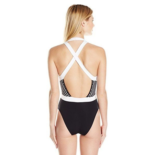 JETS by Jessika Allen Women's Luxe Contrast Banded Plunge One Piece US