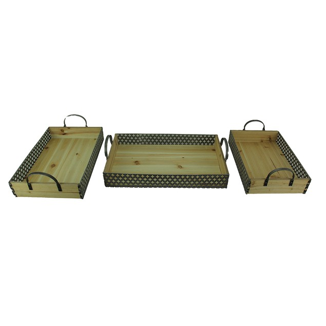 Set Of 3 Rustic Metal And Wood Decorative Trays Decorative Trays