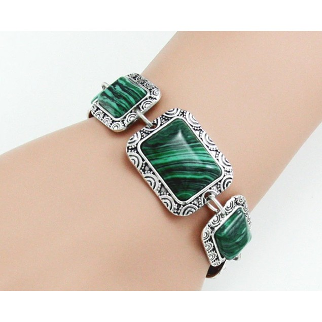 Novadab Rectangular Malachite Gem Lined Bracelet