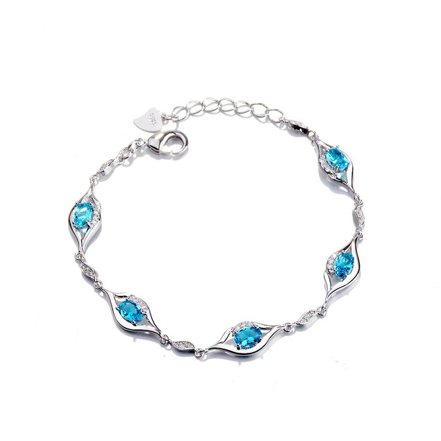 Sterling Silver & London Blue Topaz Pretty Eye Bracelet