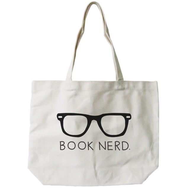Book Nerd Natural Canvas Tote Bag