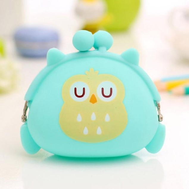 Women Owl Silicone Jelly Wallet Change Bag Key Pouch Coin Purse