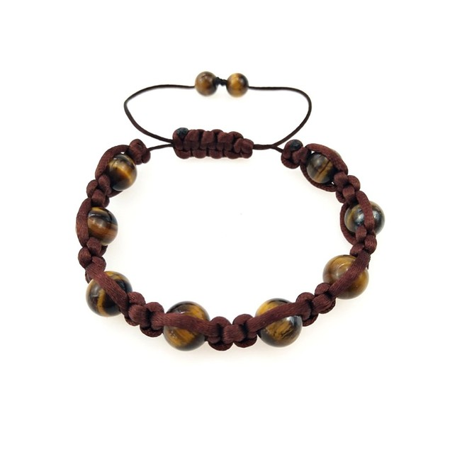 Novadab Adjustable contrasting Size Brown Beaded Bracelet