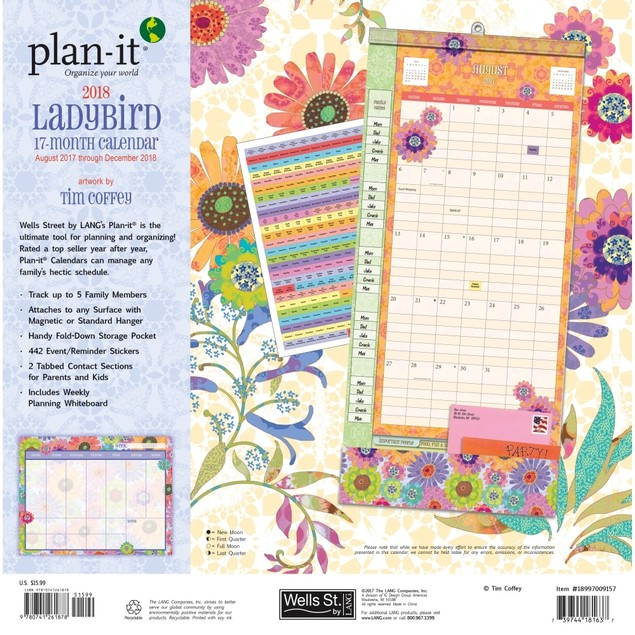 The LANG Companies WSBL Ladybird 2018 Plan-It Plus Academic Wall Calendar