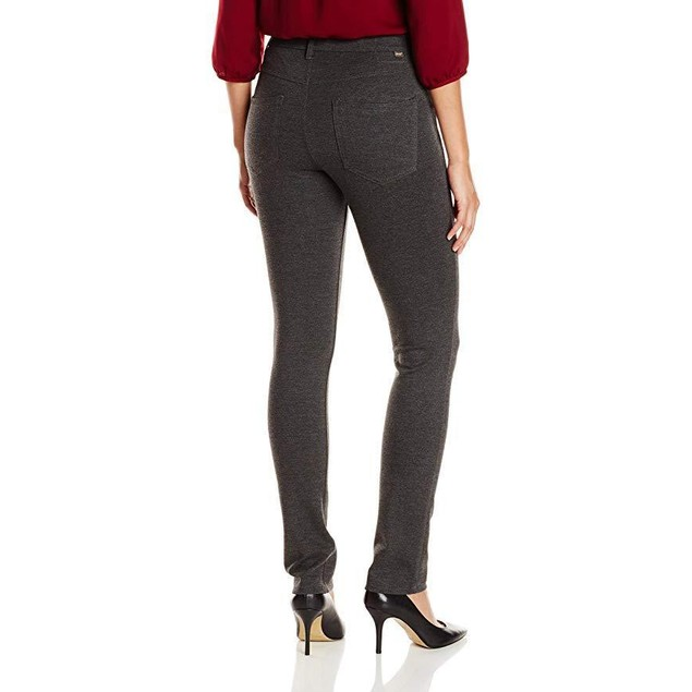 Jag Jeans Women's Rowan Slim Double Knit Ponte, Charcoal Heather, 14