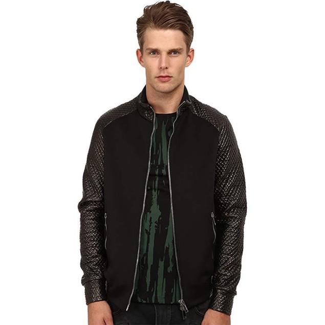 CoSTUME NATIONAL Men's Diamond Weave Track Jacket Nero LG
