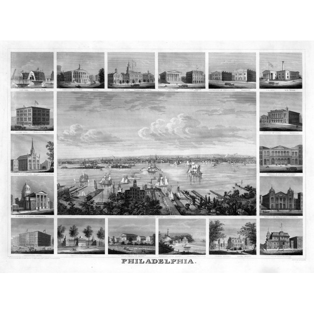Philadelphia, C1862. /Na View Of Philadelphia, Pennsylvania And Surrounding