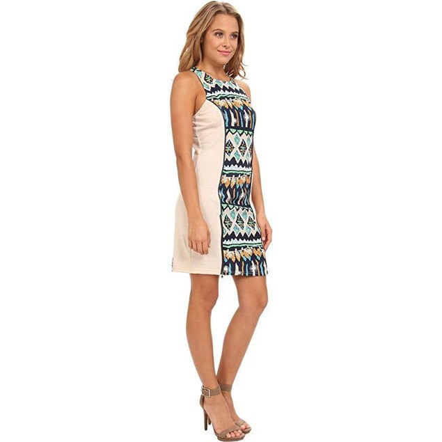 KAS New York Women's Anemy Print Dress w/Knit Sides Blue Dress SM