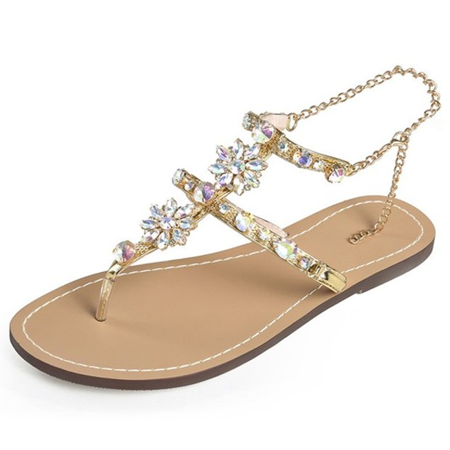 Comfy sandals - Crystal Chain Flat Bottom Rome Sandals