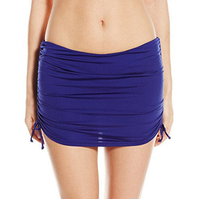 Badgley Mischka Women's Shirred Skirted Bikini Bottom, Midnight SZ 12