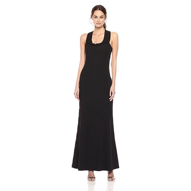laundry BY SHELLI SEGAL Women's Off Shoulder Cross Back Gown, Black, 8