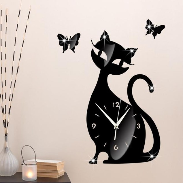 Cute Cat & Butterfly Mirror Wall Clock Sticker