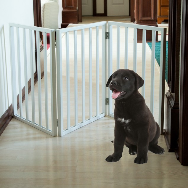 PETMAKER Freestanding Wooden Pet Gate - White