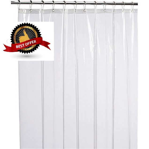 Mildew Resistant Anti-Bacterial PEVA 8G Shower Curtain Liner, 72x72