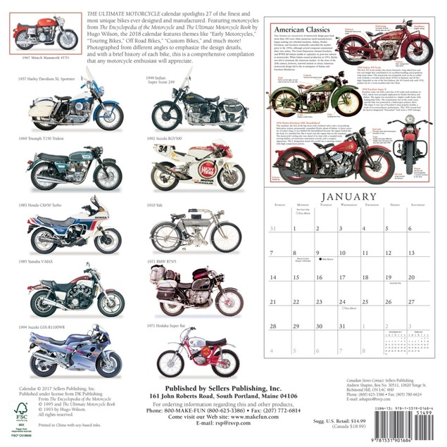 Ultimate Motorcycles Wall Calendar, Motorcycles by Calendars
