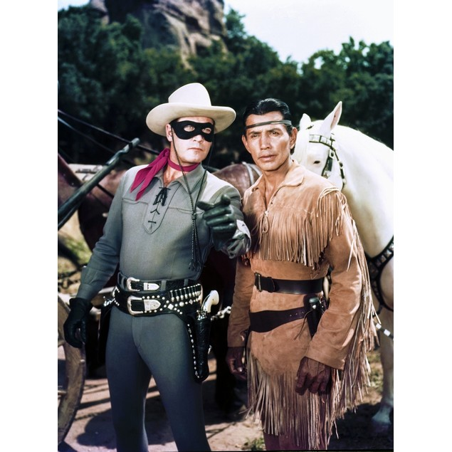 Lone Ranger Clayton Moore Portrait in Black and White Poster