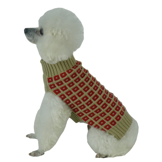 Butterscotch Box Weaved Heavy Cable Knitted Turtle Neck Dog Sweater