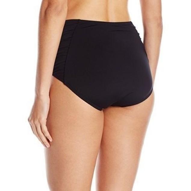 Jantzen Women's Solid Side Shirred High Waist Bikini Bottom, Black, SZ