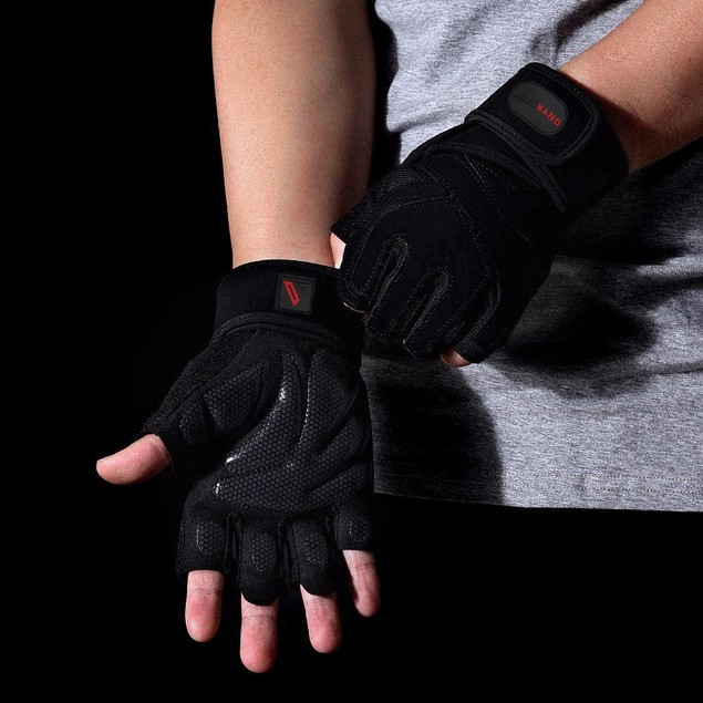 Weight Lifting Gym Gloves with Wrist Wrap Support for Men & Women