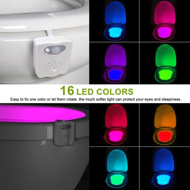 Motion Activated 16 Color UV Sterilizer & PVC Fragrance Toilet Night Light