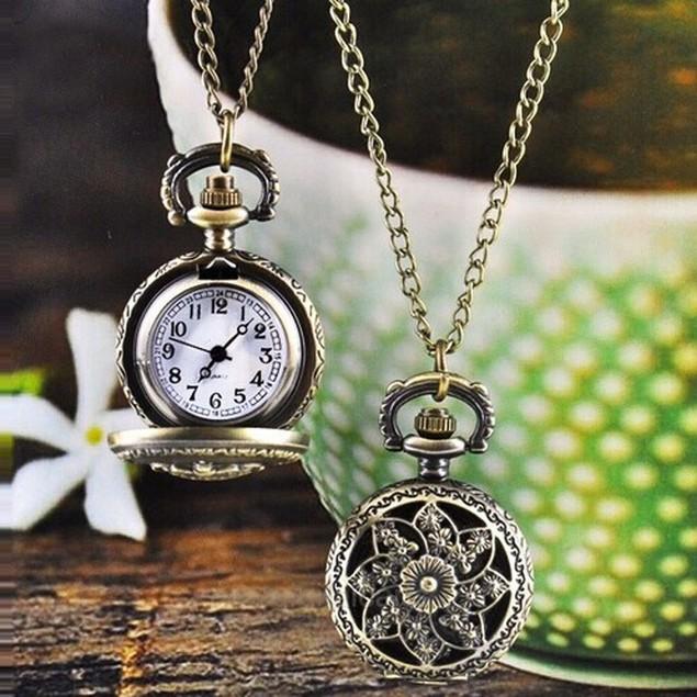 Fashion Vintage Retro Bronze Quartz Pocket Watch Pendant Chain Necklace