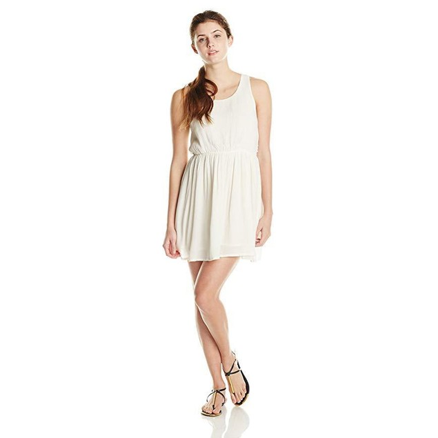 Rip Curl Junior's Earth Angel Dress with Lattic Back, Vanilla, Medium