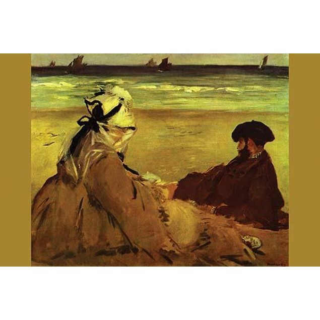 Man and woman relax on the beach looking out at sailboats Poster