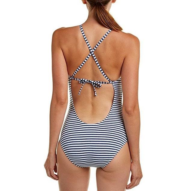 Splendid Women's Blue Swimsuit Removable Soft Cup One-Piece SZ L