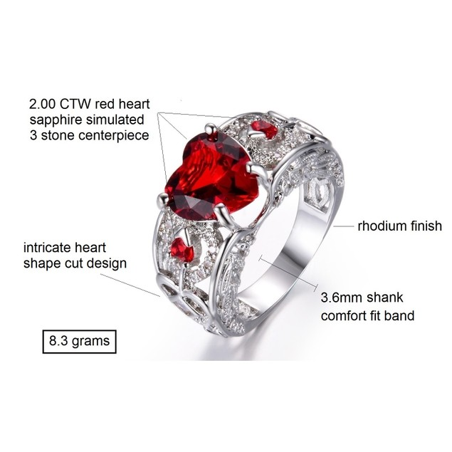 2.00 CTW Heart Simulated Red Sapphire Ring