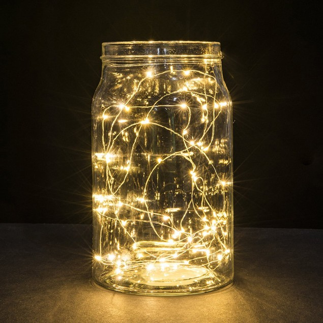2M 20LED Button Cell Powered Silver Copper Wire Mini Fairy String Lights