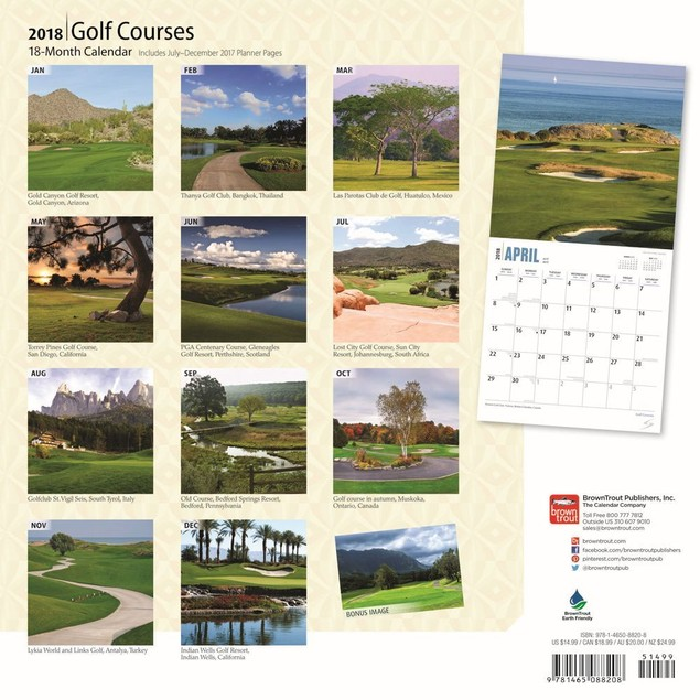 Golf Courses Wall Calendar, Golf by BrownTrout