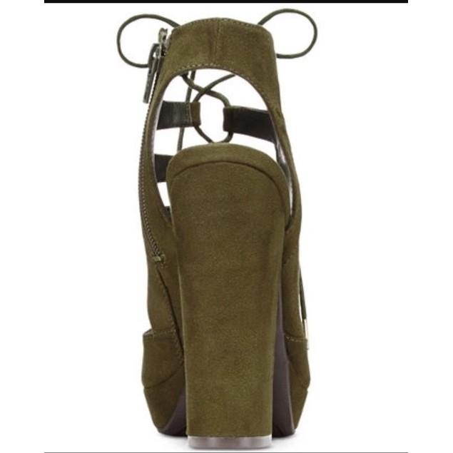 Bar III NELLY OLIVE Lace-Up Block-Heel Platform Sandals SIZE 9.5 M