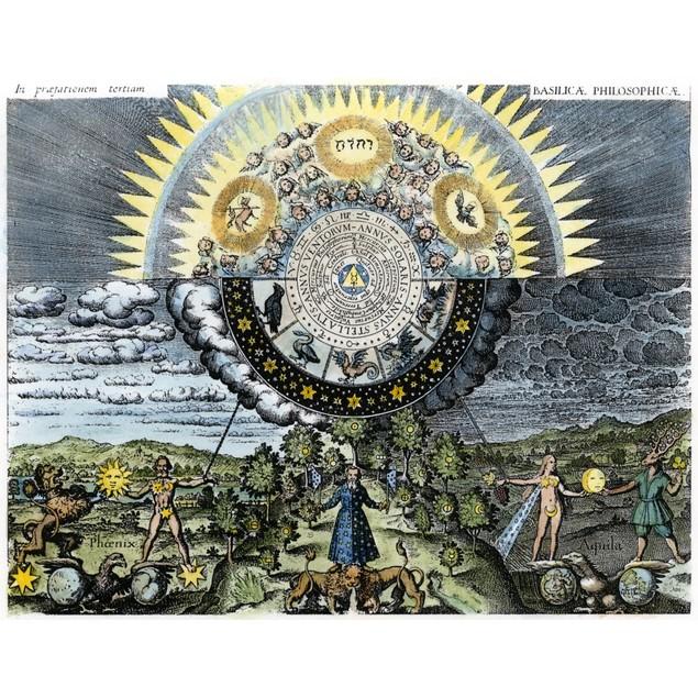 Earth/Universe Allegory. /Nan Allegorical Representation Of The Microcosm,