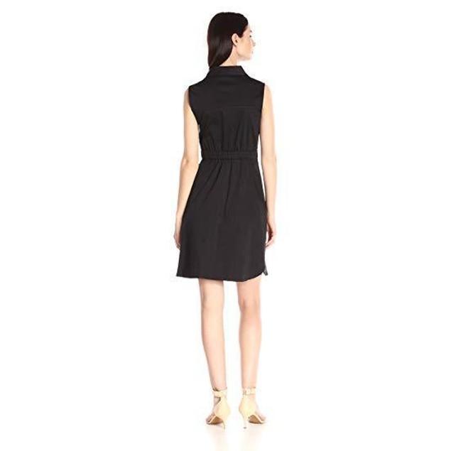 Ellen Tracy Women's Sleeveless Belted Shirt Dress, Black, 12