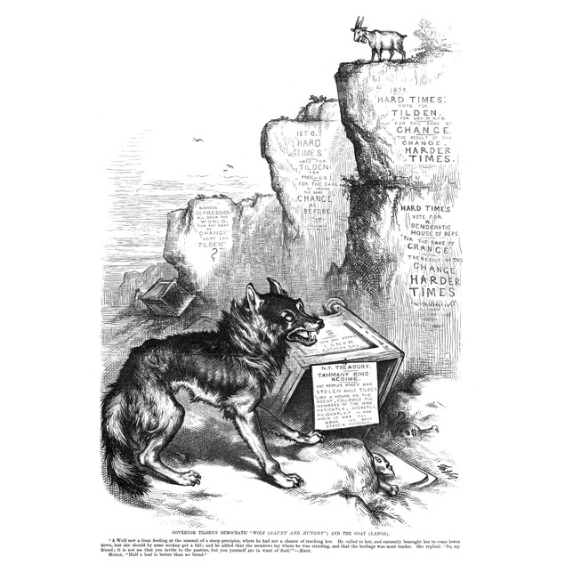"Nast: Tilden Cartoon, 1876. /N'Governor Tilden'S Democratic ""Wolf (Gaunt An"