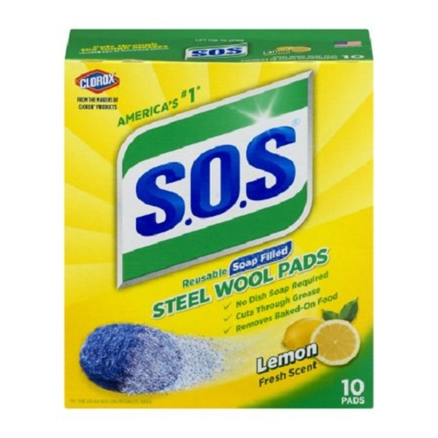 S.O.S Steel Wool Reusable Soap Filled Pads Lemon Fresh Scent