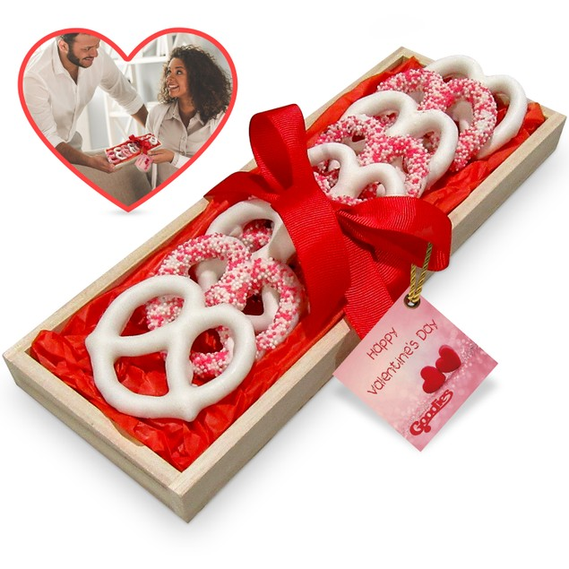 Hand Dipped Fresh Dark Chocolate Covered Pretzels - Romantic Tray