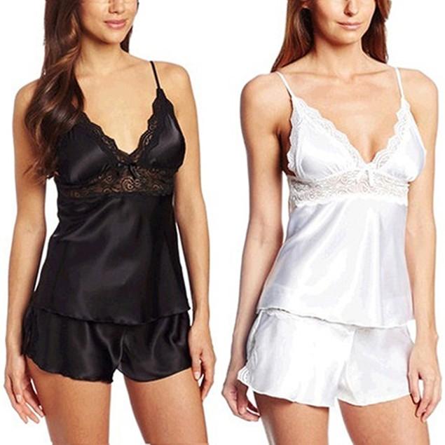 Women Sexy Fashion Pajamas Lace Splicing Sleepwear