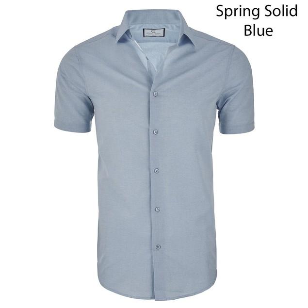 Suslo Couture Men's Nautical Slim Fit Short Sleeve Button Down