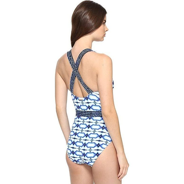Michael Michael Kors Women's One Piece X-Back Tank Swimsuit New Navy 1