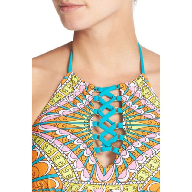 Trina Turk Women's Capri High Neck Bra Bikini Top Orange Sherbet SZ 8