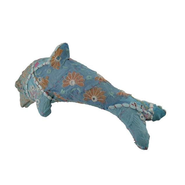 Blue Vintage Sari Fabric Covered Paper Mache Statues