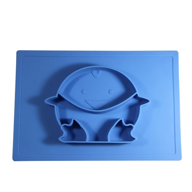 Silicone Tray Baby Placemat Cute Penguin Shape Grid Plate Snack Plate