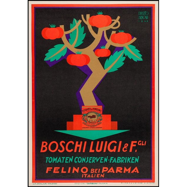 poster from Italy, promoting Boschi Luigi Tomato Conserves.  It shows tomat