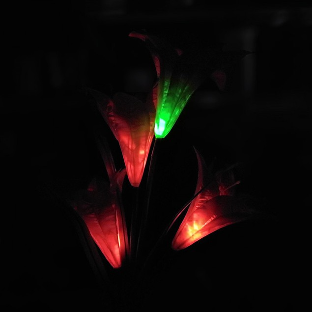 Colorful Color Change 4 Solar Lily Lantern Outdoor LED Simulation Lantern