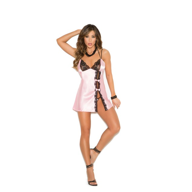 Lace and Satin Babydoll with G-string