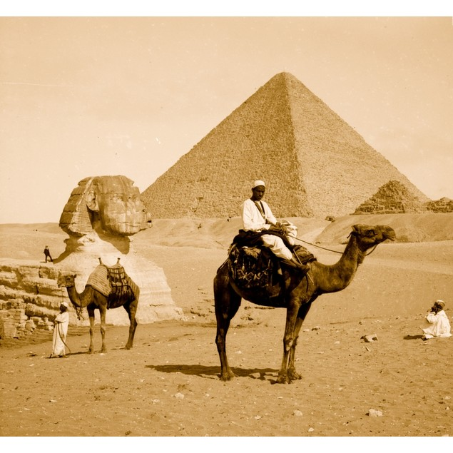 Egypt, Great Pyramid, sphinx, man on camel Poster