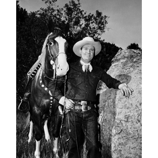 Gene Autry Leaning on a Big Rock Poster